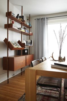 gorgeous living room with classic midcentury shelves