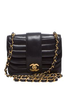 Black Horizontal Stripe Lambskin Flap Mini from Back to Basics: Luxury Handbags on Gilt