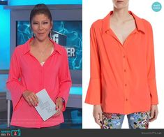 Julie's coral bell sleeve blouse on Big Brother Bell Sleeve Blouse, Bell Sleeves, Big Brother Style, Julie Chen, Coral Bells, Oversized Blouse, Alice Olivia, Fashion Outfits, Blazer