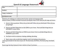 Speech & Language Homework Download - - Pinned by @PediaStaff – Please visit http://ht.ly/63sNt for all (hundreds of) our pediatric therapy pins