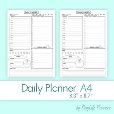 Daily Planner Printable A Size Pdf Blue To Do Binder Refills
