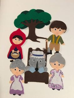 Little Red Riding Hood Big Bad Wolf Felt Board Patterns PDF Flannel Board Stories, Felt Board Stories, Felt Stories, Flannel Boards, Paper Doll Craft, Doll Crafts, Paper Dolls, Felt Board Patterns, Felt Finger Puppets