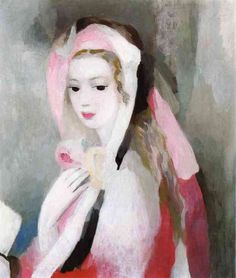 Girl by Marie Laurencin (1883-1956), French  - important figure in the Parisian avant-garde as a member of the Cubists associated with the Section d'Or (wiki) -  (womeninarthistory)