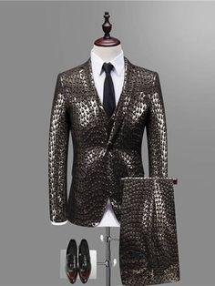 Three Piece Print Slim Men's Dress Suit