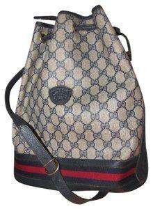 2e79a8b510a46 Gucci Vintage Vtg Gg Monogram Supreme Sherry Web Drawstring Bucket Blue  Leather Coated Canvas Shoulder Bag