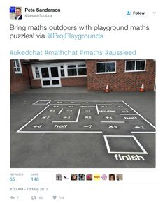Saw this go past on Twitter - lo the increasingly thoughtful, but still playful, marking on playgrounds these days - robot tracks, number puzzles, history lines... so much