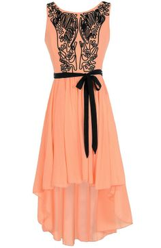 Scribble Out High Low Dress in Orange Peach - Lily Boutique