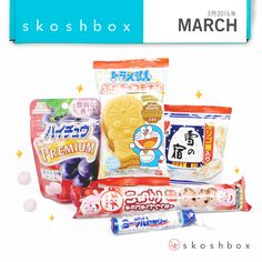 Skoshbox March: One of our favorite assortments yet! Hi-Chew Premium (Member's Vote!), Doraemon Monaka, Frosted Senbei, Ichico Cookies, and a Japanese style Yogurt Candy. Snack time!