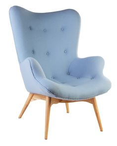 Pale Blue armchair.  Designed in 1951 by Victorian craftsman Grant Featherston, the R160 Contour chair is considered an icon of Australian furniture design