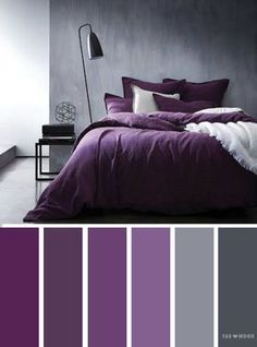 Grey and purple colors/ediblefleurs/debra ponte dusty-smokey deep purple Bedroom ideas Grey and purple color inspiration,Grey and purple color schemes Purple Color Schemes, Color Schemes Colour Palettes, Purple Palette, Purple Color Combinations, Gray Bedroom Color Schemes, Color Palette Gray, Hallway Colour Schemes, Bedroom Color Combination, Apartment Color Schemes