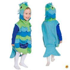 Kinderkostüm Fisch, Overall blau-grün für Jungen und Mädchen zum Kinderfasching, Kostüm Karneval