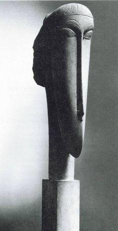 Head sculpture by Amedeo Modigliani, 20th century (Thx Bo)