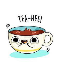 'Tea Hee Food Pun' by punnybone – Best Anımals Food Cute Cartoon Drawings, Cartoon Pics, Doodle Drawings, Kawaii Drawings, Funny Food Puns, Punny Puns, Funny Doodles, Cute Doodles, Tea Puns