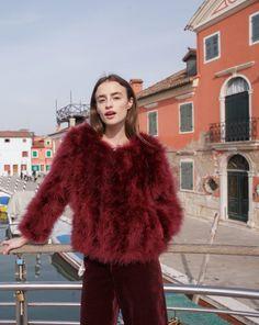 Fluffy Fur Fever Jacket Red Wine
