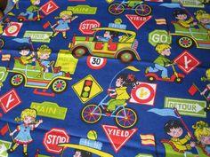 Vintage Cotton Fabric  Traffic Street Scene by missretromodern, $15.00