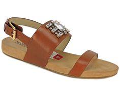 Michael Kors Women's Luna Flat Sandals Luggage Brown Leather Size 10 M #MichaelKors #FlatSandals #SummerNightOut