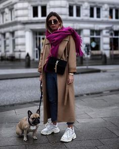 The street staples you need to look cool this season camel coat, oversized purple scarf and ugly sneakers