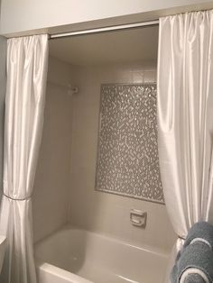 I don't like the look of just a single shower curtain nor do I like the look of a double shower rod. Aside from the look of the shower curtain rod it doesn't se… Extra Long Shower Curtain, Long Shower Curtains, Bathroom Shower Curtains, Shower Rod, Shower Curtain Rods, Shower Doors, Shower Liner, Closet Door Makeover, Painting Shower