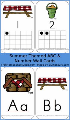 Summer ABC and Number Wall Cards