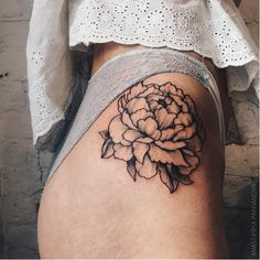 Peony Tattoo by Anastasiya Pakhanova #dotwork #linework #peony #peonytatoo…