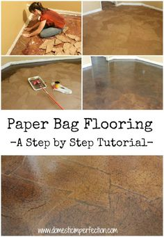 DIY Paper Bag Flooring - I wish I had seen this about 4 months ago! Paper bag flooring… I will definitely do this in the f - Diy Paper Bag, How To Make A Paper Bag, Paper Bags, Paper Crafts, Paper Bag Flooring, Diy Flooring, Inexpensive Flooring, Cheap Flooring Ideas Diy, Brown Paper Flooring