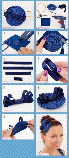 Tiara de cordinha enrolada e laço de cetim azul - Faça Você Mesmo