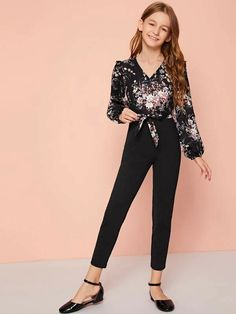 Girls Surplice Neck Ruffle Trim Self Belted Combo Jumpsuit Check out this Girls Surplice Neck Ruffle Trim Self Belted Combo Jumpsuit on Shein and explore more to meet your fashion needs! Teenage Girl Outfits, Kids Outfits Girls, Girls Fashion Clothes, Tween Fashion, Teen Fashion Outfits, Women's Fashion Dresses, Girl Fashion, Style Clothes, Kids Dress Wear