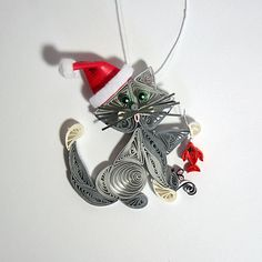 Santas Helper Kitty Cat Hanging Ornament by AGiftwithinaGift