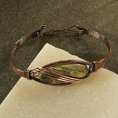 Wraps by Renee.  Yellow jasper copper wire wrapped bracelet.