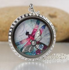 Memory Floating Charm Locket Necklace  Dragonfly by katinn on Etsy, $35.00