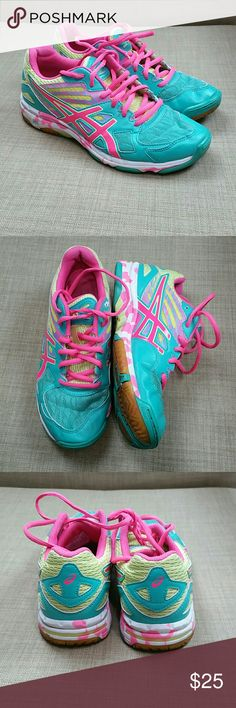 Asics Speva Pink Teal Vollyball Shoes Size 7 In good condition & only used during games. Add to a bundle to receive 20% off 3 or more items. Offers welcomed. Asics Shoes Athletic Shoes