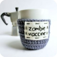 Coffee Mug Zombie Vaccine Tea Cup Cozy blue purple by KnotworkShop, $14.00