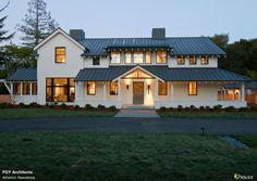 Exterior: Modern farmhouse with dark metal roof Modern Farmhouse Exterior, Farmhouse Design, Farmhouse Style, Farmhouse Contemporary, Ranch Exterior, Farmhouse Windows, Contemporary Homes, Cottage Design, Farmhouse Ideas