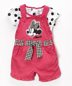 Look at this #zulilyfind! Pink Polka Dot Minnie Mouse Tee & Shortalls - Toddler & Girls #zulilyfinds