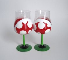 Piranha Plant Wine Glasses - Hand Painted Mario Inspired Set of 2 Glasses $30