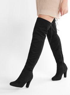 Czarne kozaki za kolano Joanna