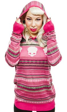 Iron Fist Sweater:  pink, black, gray & white jacquard & skull design & a nice long length to keep you warm.