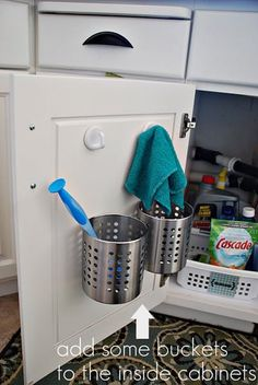 Your under-sink area needs to work hard; it can't just be the resting place for that giant bottle of dishwasher detergent you picked up at Costco. Today we're talking about all the little stuff that needs a home: sponges, brushes, and even that weird thing you use to scrape your pans that doesn't have a name! Here are seven inspiring ideas for getting them wrangled and organized.