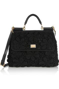 Dolce & Gabbana|Miss Sicily crochet and leather shoulder bag|NET-A-PORTER.COM