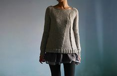 Hygge is a loose fitting pullover. It is designed with a clean neckline and a distintive design element that is reminiscent of a gusset. It is worked from the top down in the round. Sweater Coats, Pullover Sweaters, Cardigans, Hygge, Jumper Knitting Pattern, I Cord, Seed Stitch, Coat Patterns, Weaving Patterns
