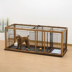 Expandable Pet Enclosure / Wood Dog Crate with Floor Tray