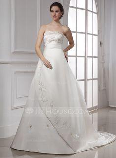 Corte A/Princesa Estrapless La capilla de tren Satén Vestido de novia con Bordado.