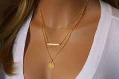 Monogramme or superposition collier, collier en couches, Skinny Bar collier d