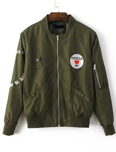 SHEIN new arrival- fashion bomber jacket. Army Green + Embroidered Patch + soft touch. Lovely and stylish! Bomber Jacket at shein.com.