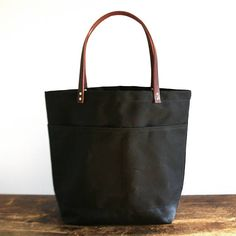 Black Large Waxed Canvas Tote Bag with Leather Straps
