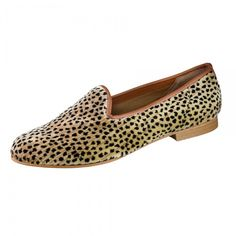 Lively Zalo loafer in the softest leopard print suede. Tan leather piping piping. Breathable fabric lining. Leather footbed. Leather sole. Stack heel.   Handmade in Spain for Galo Shoes.