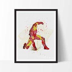 Iron Man Print Marvel Superhero Watercolor Art by VIVIDEDITIONS