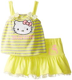 Hello Kitty Baby Girls 2 Piece Yellow Skirt Set Bright Yellow 6 9 Months * Learn more by visiting the image link. Cute Baby Girl Outfits, Cute Baby Clothes, Baby Girl Dresses, Toddler Outfits, Kids Outfits, Hello Kitty Clothes, Hello Kitty Baby, Baby Girl Fashion, Kids Fashion