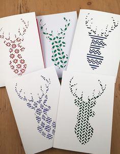 Kerst Stag Papercut sjablonen kerstkaart door PerfectlyPapercuts