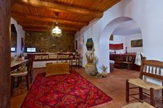 Traditional Cretan Stone House - Cottages for Rent in Kolymvari, Kriti, Greece Wood Ceilings, Renting A House, Terrace, Entrance, Greece, Master Bedroom, Cottage, Rustic, Traditional